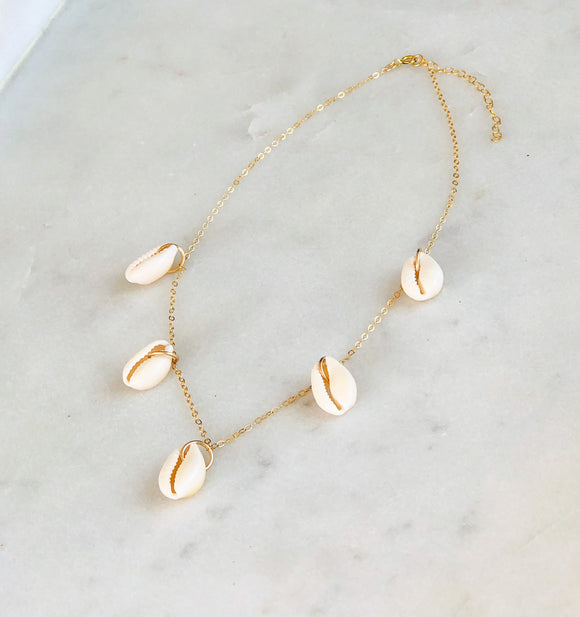 Falling Bleached Shells Necklace