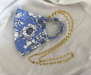 Blue and White Flowers Mask