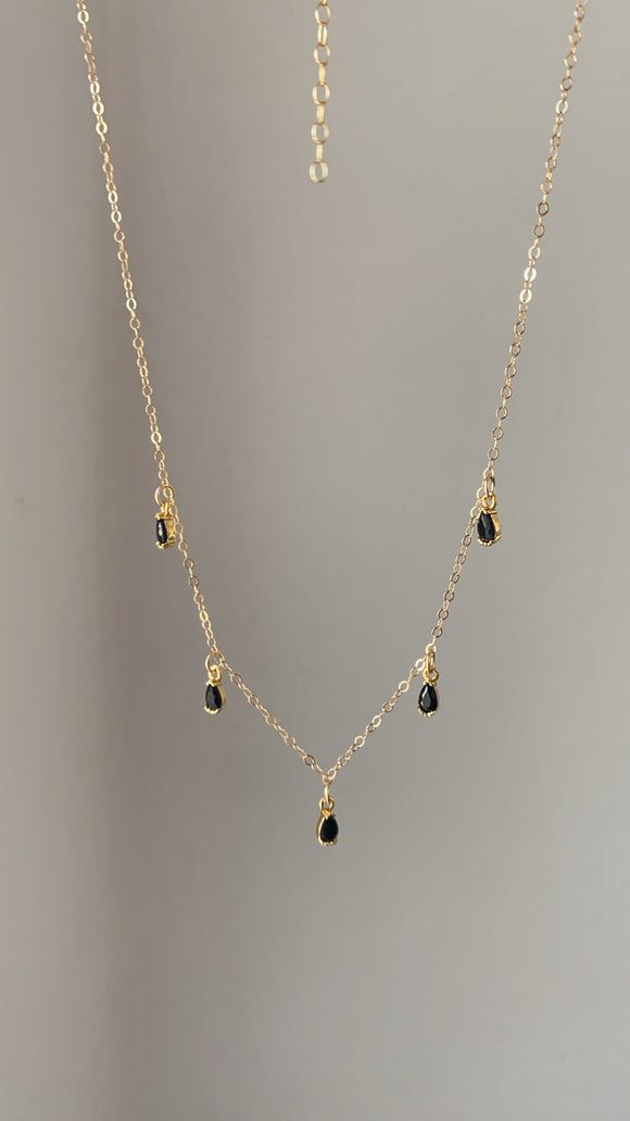 Falling Black Drops Necklace