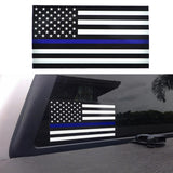 "4.44""X2.5"" Thin Blue Line American Flag Vinyl Decal Sticker"