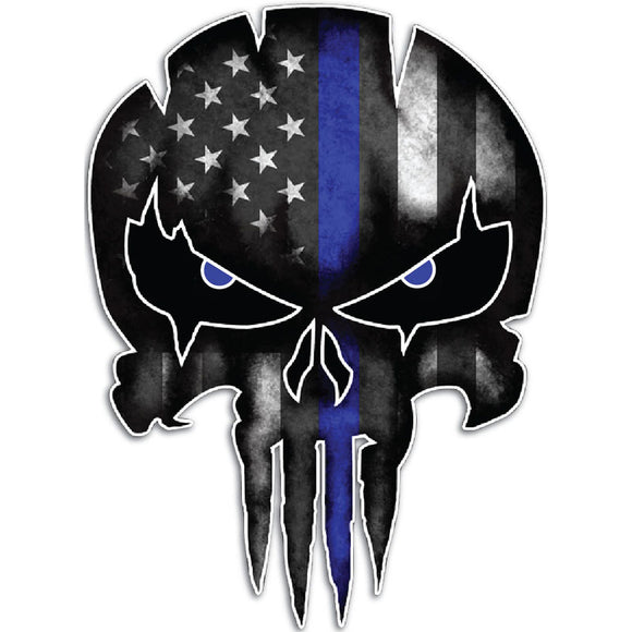 Thin Blue Line Punisher Skull Reflective Personalized Car/motorcycle Sticker Decal