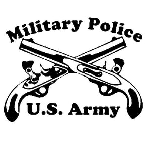 "7.9""X6.14"" Military Police Crossed Pistols Vinyl Decal (Black or Silver colors)"