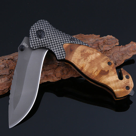 Folding Titanium coated Steel Blade Tactical Survival Knife