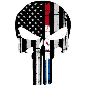 "3.8""X*5.9"" Punisher Style Skull American Flag Vinyl Decal"