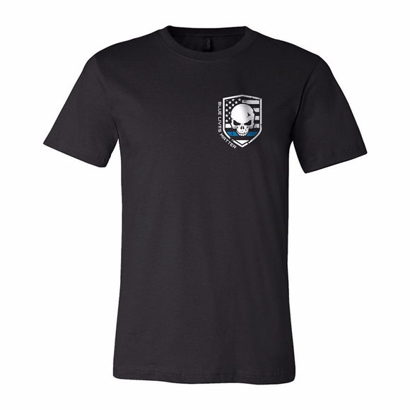 Blue Line Police Skulll T-Shirt Police Thin Blue Line