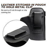 Leather Holster For Concealed Universal Tactical Pistol (Example: Glock 17, 19, 22, 23 and other similar size firearms)