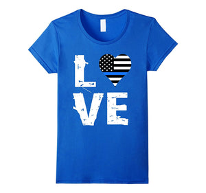 Police Blue Line Love T-Shirt