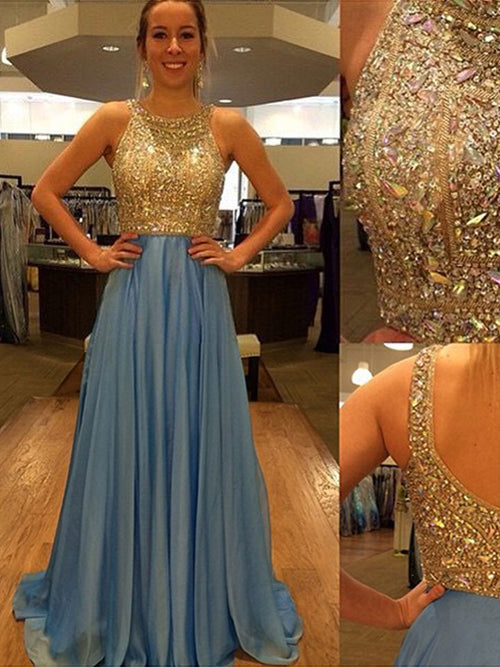 A-Line/Princess Scoop Sweep/Brush Train Chiffon Prom Formal Evening Dress with Beading