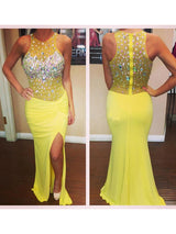 Trumpet/Mermaid Scoop Sweep/Brush Train Chiffon Prom Formal Evening Dress with Crystal