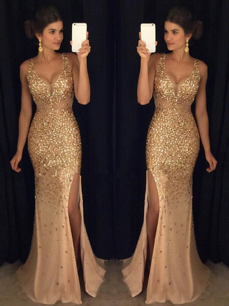 Sheath/Column V-neck Court Train Tulle Prom Formal Evening Dress with Rhinestones