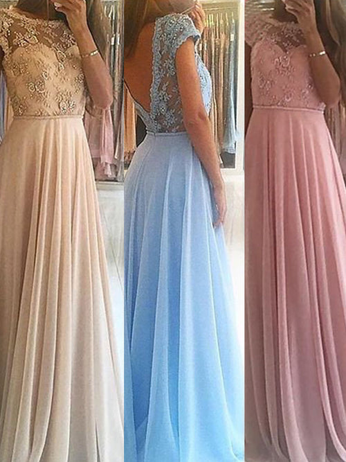 A-Line/Princess Scoop Floor Length Chiffon Prom Formal Evening Dress with Beading