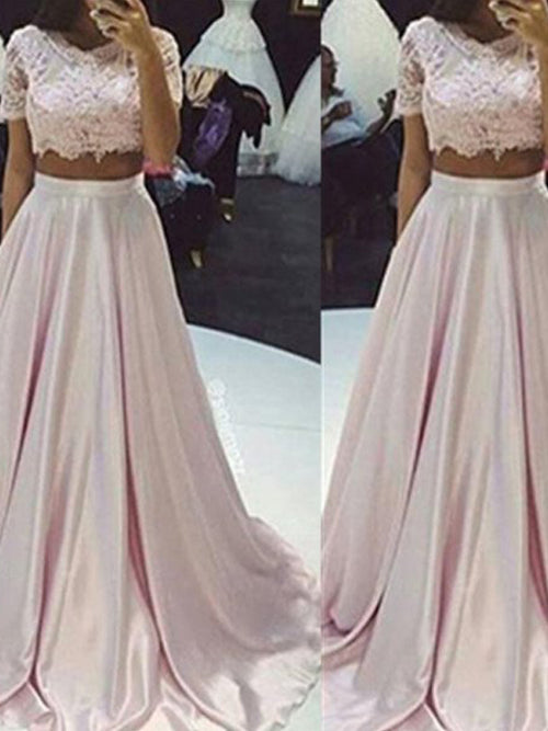 A-Line/Princess Scoop Floor Length Taffeta Prom Formal Evening Dress with Lace