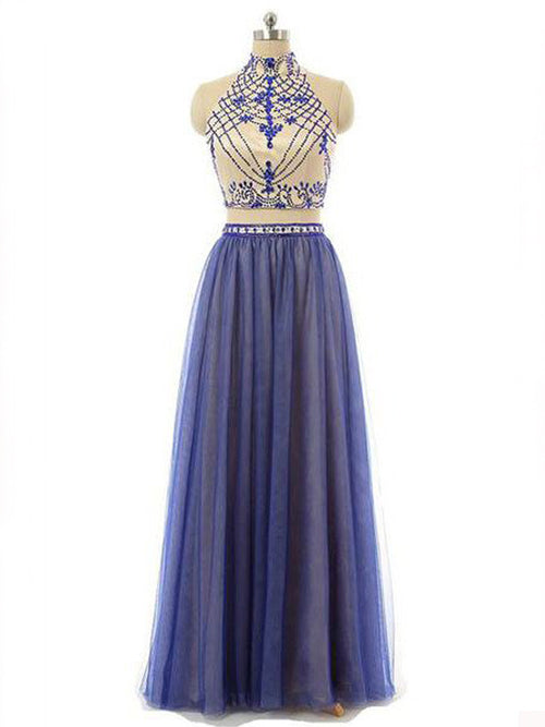 A-Line/Princess High Neck Floor Length Chiffon Prom Formal Evening Dress with Beading