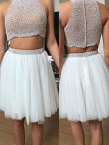 A-Line/Princess High Neck Short/Mini Tulle Prom Formal Evening Dress with Beading