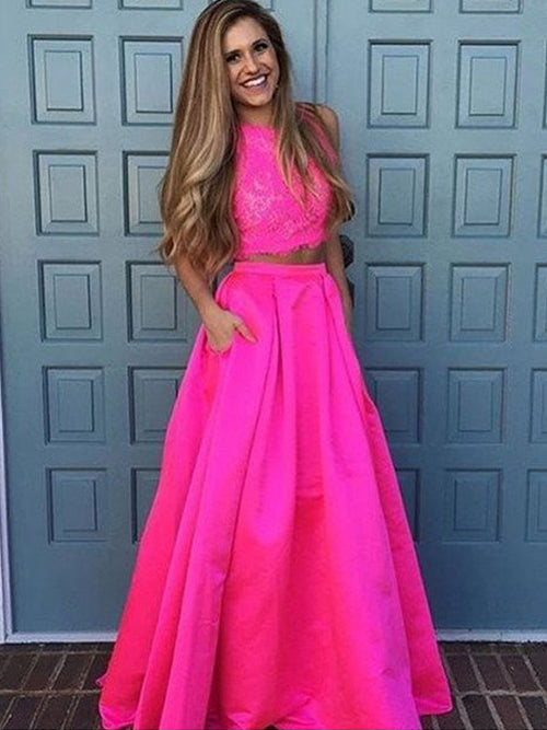 A-Line/Princess Scoop Floor Length Satin Prom Formal Evening Dress with Lace