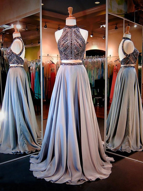 A-Line/Princess High Neck Sweep/Brush Train Satin Prom Formal Evening Dress with Beading