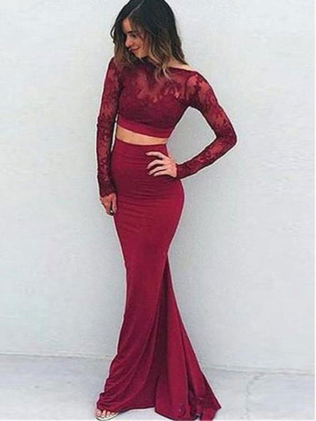 Trumpet/Mermaid Bateau Floor Length Spandex Prom Formal Evening Dress with Applique