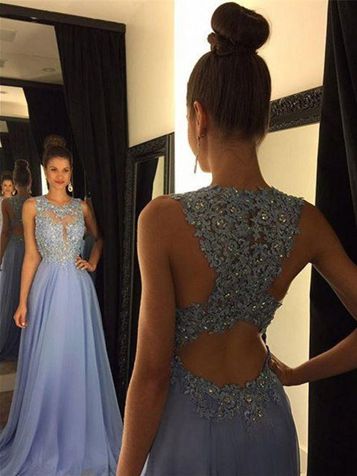 50a920367f Sheath Column Scoop Sweep Brush Train Chiffon Prom Formal Evening Dress  with Applique