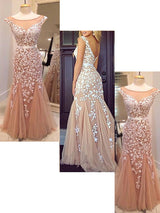 Sheath/Column Bateau Floor Length Tulle Prom Formal Evening Dress with Applique
