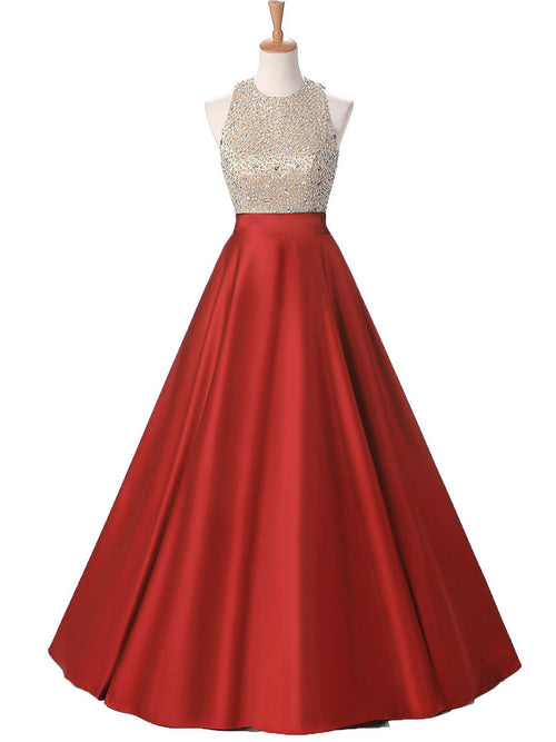 Ball Gown Jewel Floor Length Satin Prom Formal Evening Dress with ...