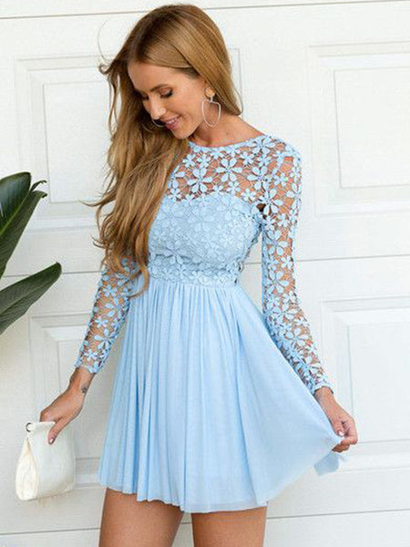 A-Line/Princess Scoop Chiffon Long Sleeves Short Short/Mini Prom Evening Dress with Lace