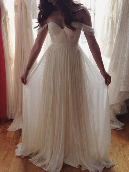 A-Line/Princess Off-the-shoulder Floor Length Chiffon Prom Dress with Beading