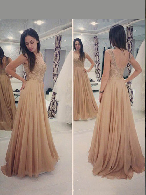 A-Line/Princess Scoop Floor Length Chiffon Prom Formal Evening Dress with Applique