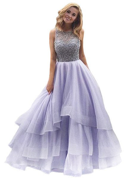 Ball Gown Scoop Floor Length Organza Prom Formal Evening Dress with Beading