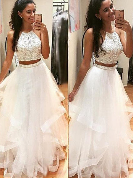 A-Line/Princess Halter Floor Length Tulle Two Piece Prom Dress with Beading