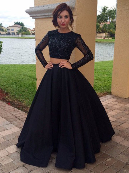 Ball Gown Scoop Floor Length Satin Long Sleeves Two Piece Prom Evening Dress with Beading
