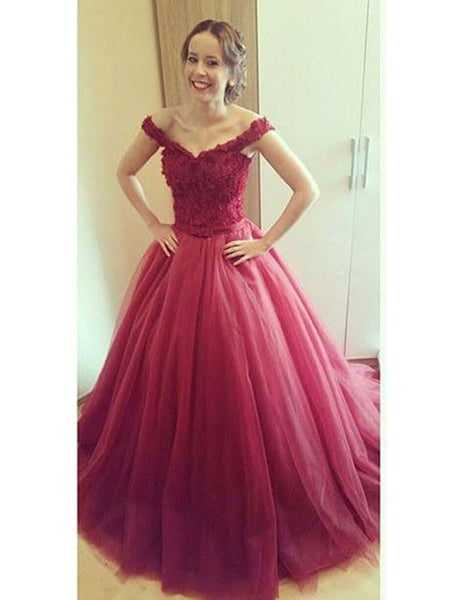 Ball Gown Off-the-shoulder Floor Length Tulle Prom Formal Evening Dress with Applique
