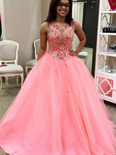 Ball Gown Sweetheart Floor Length Tulle Prom Formal Evening Dress with Beading