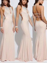 Sheath/Column Halter Sweep/Brush Train Jersey Prom Formal Evening Dress with Beading