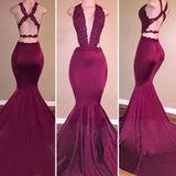 Trumpet/Mermaid V-Neck Sweep/Brush Train Satin Evening Dress with Applique