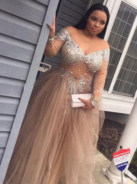 Ball Gown Off-the-Shoulder Floor Length Tulle Plus Size Prom Formal Evening Dress with Sequin