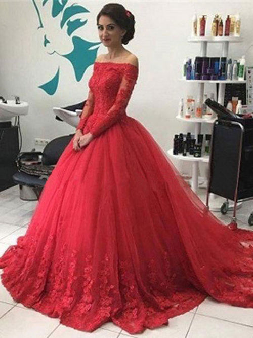 Ball Gown Off-the-shoulder Sweep/Brush Train Tulle Prom Formal Evening Dress with Lace