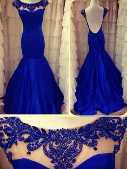 Trumpet/Mermaid Scoop Sweep/Brush Train Taffeta Prom Formal Evening Dress with Beading