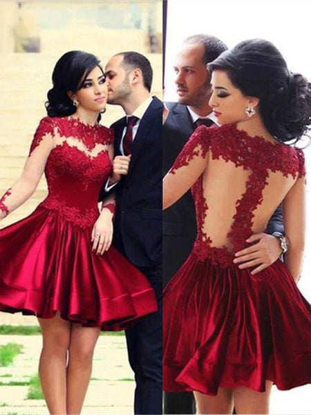 A-Line/Princess High Neck Short/Mini Elastic Woven Satin Prom Formal Dress with Applique