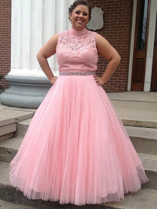 Ball Gown High Neck Floor Length Sleeveless Tulle Plus Size Prom ...
