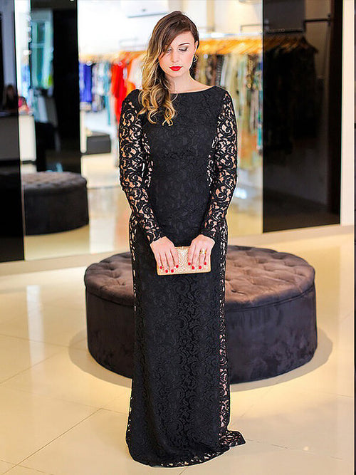 Sheath/Column Long Sleeves Floor Length Sleeveless Plus Size Prom Evening  Dress with Lace