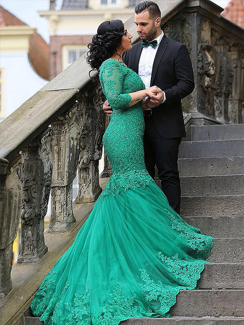 Trumpet/Mermaid V-neck Sweep/Brush Train 3/4 Sleeves Tulle Plus Size Prom Dress with Applique