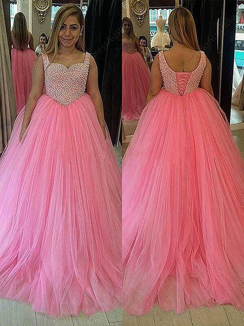 Ball Gown Sweetheart Sweep/Brush Train Sleeveless Tulle Plus Size ...