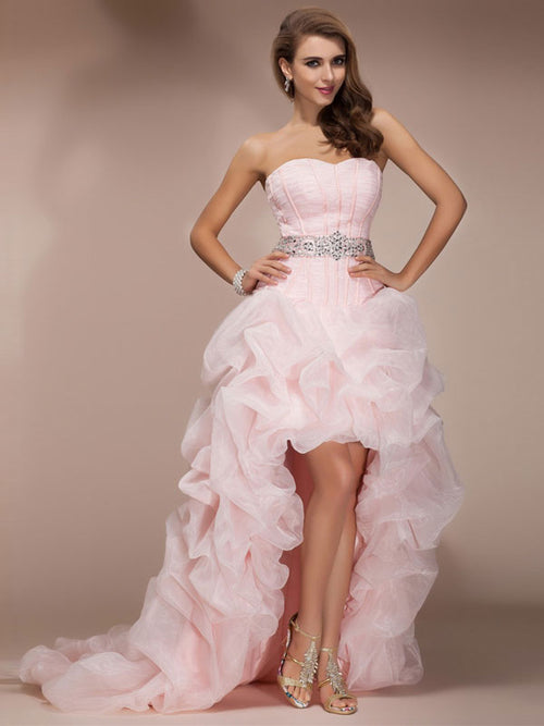 A-Line/Princess Sweetheart Asymmetrical Organza Sleeveless Prom Evening Dress with Beading