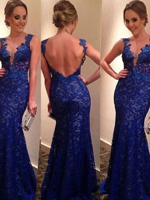 Trumpet/Mermaid V-neck Floor Length Lace Sleeveless Prom Formal Evening Dress with Applique