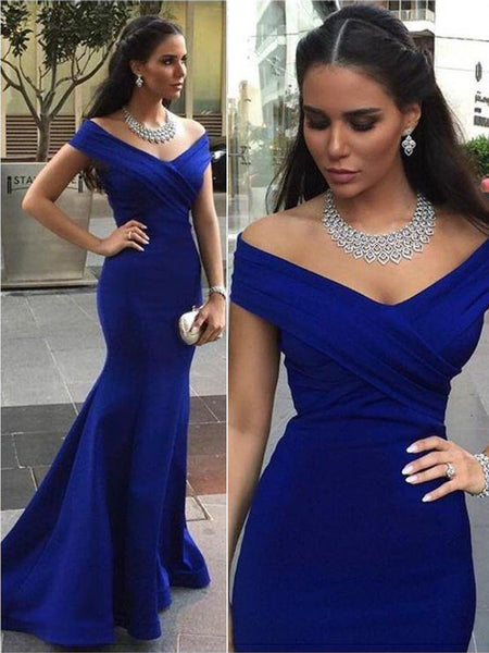 Trumpet/Mermaid Off-the-Shoulder Sweep/Brush Train Satin Sleeveless Prom Formal Evening Dress