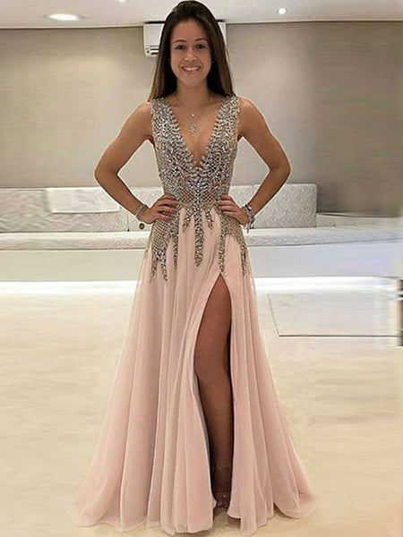 A-Line/Princess V-neck Floor Length Tulle Sleeveless Prom Formal Evening Dress with Beading