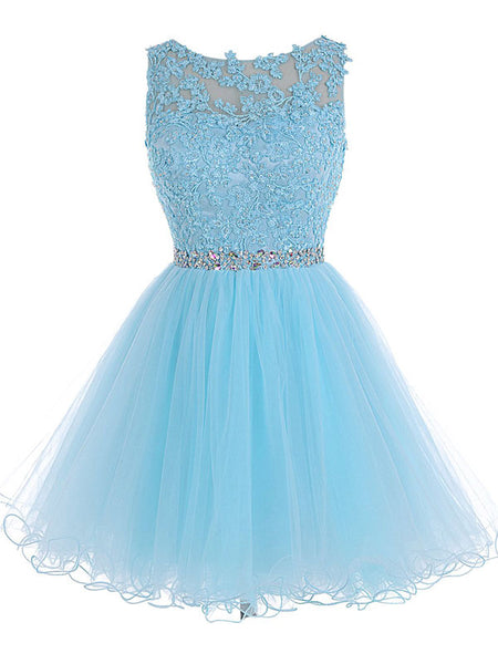 A-Line/Princess Scoop Tulle Sleeveless Short/Mini Prom Evening Dress with Beading Lace