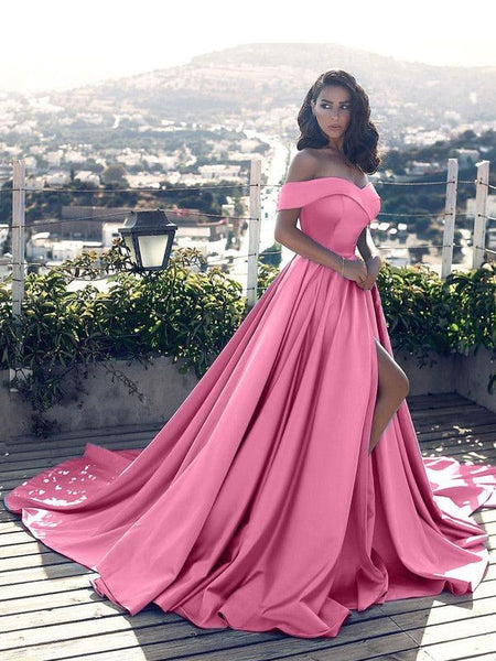 A-Line/Princess Off-the-Shoulder Floor Length Satin Prom Formal Evening Dress with Ruffles
