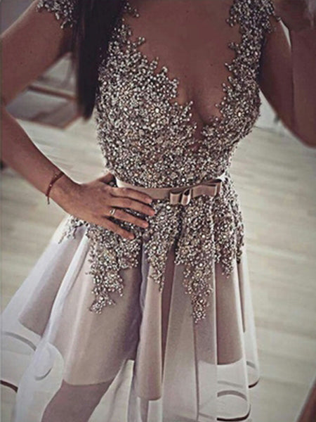 A-Line/Princess V-neck Sleeveless Short/Mini Organza Prom Evening Dress with Sequin