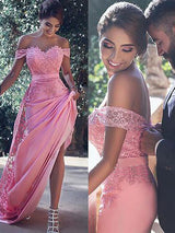 Sheath/Column Off-the-Shoulder Sleeveless Sweep/Brush Train Satin Prom Evening Dress with Lace